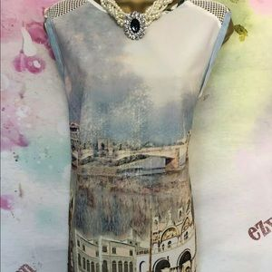Unique tunic Blue Dress cathedral painting